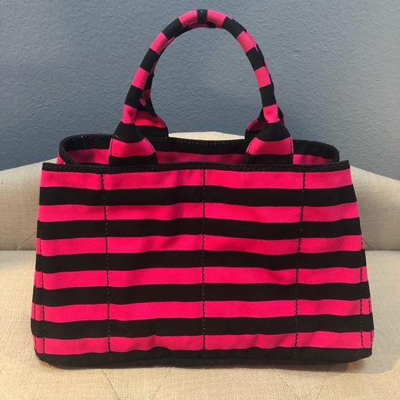 0e72d4c51950 Prada Bags | Canapa Pink Striped Tote | Poshmark